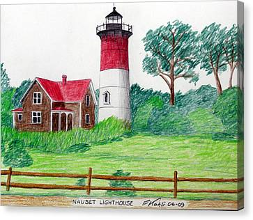 Nauset Lighthouse Drawing Canvas Print by Frederic Kohli