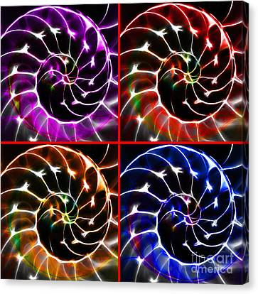Nautilus Shell Ying And Yang - Electric - V1 - Four Squares Canvas Print by Wingsdomain Art and Photography