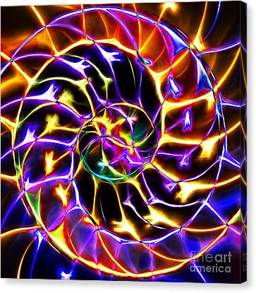Nautilus Shell Ying And Yang - Electric - V2 - Yellow-purple Canvas Print by Wingsdomain Art and Photography