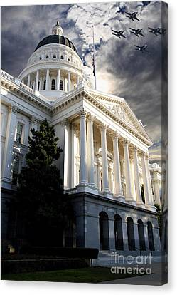 Navy Blue Angels Flying Over The California State Capitol . 7d11771 Canvas Print by Wingsdomain Art and Photography