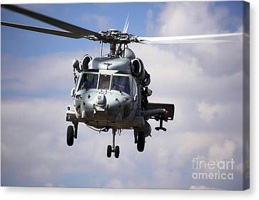 Fort Pierce Canvas Print - Navy Pilots In A Sh-60f Seahawk Conduct by Michael Wood