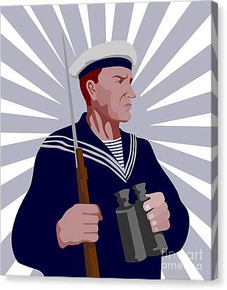 Navy Sailor Rifle Binoculars Retro Canvas Print