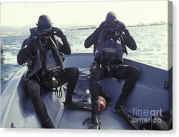 Navy Seals Combat Swimmers In A Utility Canvas Print by Michael Wood