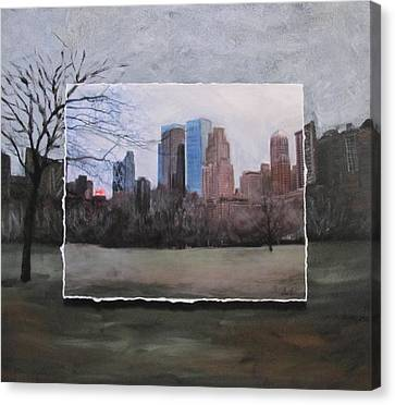 Ncy Central Park Layered Canvas Print by Anita Burgermeister
