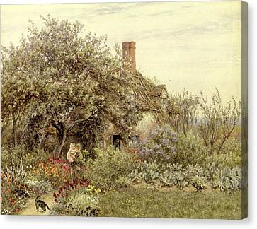 Country Cottage Canvas Print - Near Hambledon by Helen Allingham