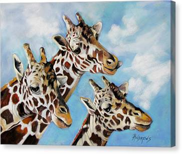 Canvas Print featuring the painting Neck And Neck by Rae Andrews