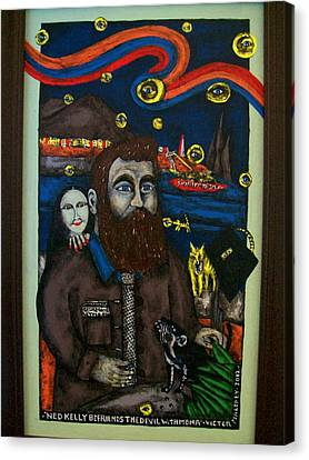 Ned Kelly Befriends The Devil Canvas Print by Victor Maloney