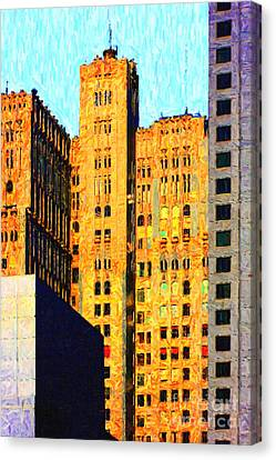 Neo-gothic Pacbell Building In San Francisco Canvas Print by Wingsdomain Art and Photography