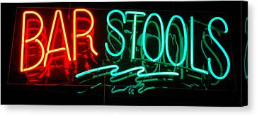 Neon Bar Stools Canvas Print by Steven Milner