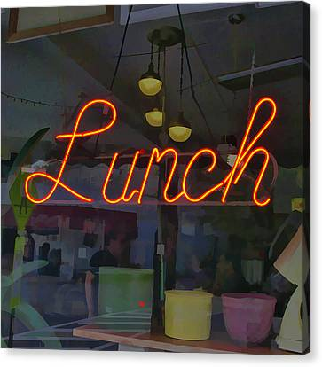 Neon Lunch Sign Canvas Print by Michael Flood