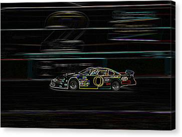 Canvas Print featuring the photograph Neon Nascar by Tyra  OBryant