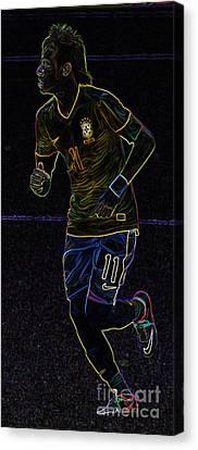 Neymar Junior Canvas Print - Neon Neymar II by Lee Dos Santos