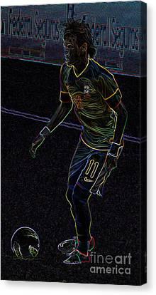 Neymar Junior Canvas Print - Neon Neymar by Lee Dos Santos