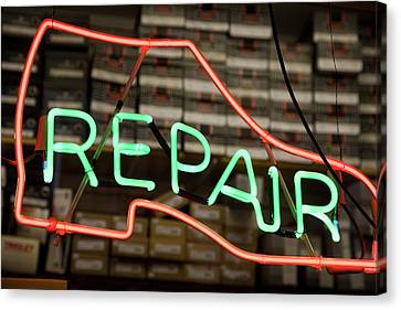 Neon Shoe Repair Sign Canvas Print by Frederick Bass