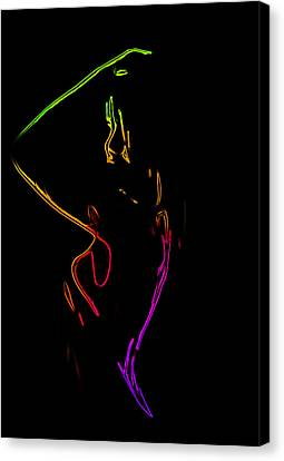 Neon Shower Girl Canvas Print by Steve K