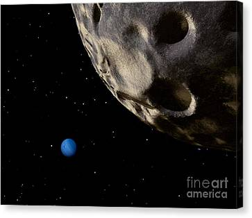 Neptune Seen From Its Tiny, Distant Canvas Print by Ron Miller