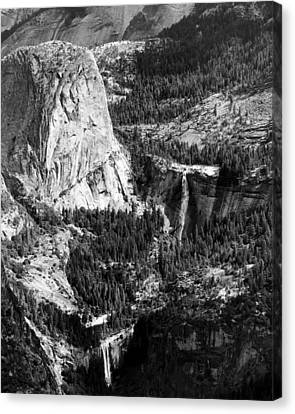 Nevada And Vernal Falls Yosemite National Park Canvas Print by Troy Montemayor