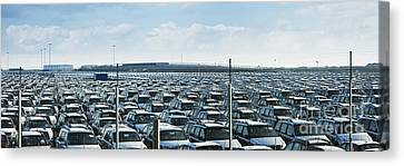 New Cars In Parking Lot Canvas Print by Jon Boyes