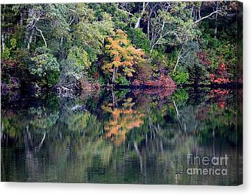 New England Fall Reflection Canvas Print by Carol Groenen