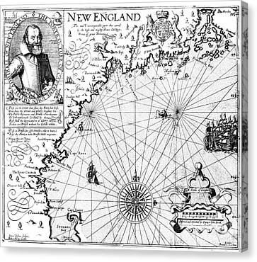 1616 Canvas Print - New England Map, 1616 by Granger