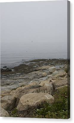 New London Ledge Light In The Dense Fog Canvas Print by Todd Gipstein