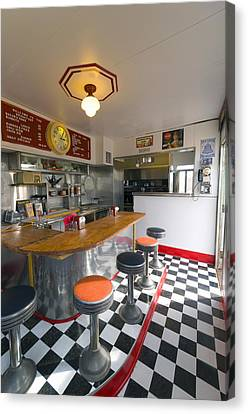 Old Diner Bar Stools Canvas Print - New Mexico, Route 66, Edgewood, Redtop Diner by Alan Copson