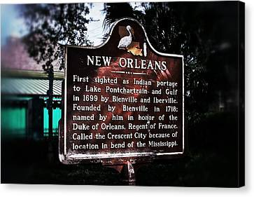 Canvas Print featuring the photograph New Orleans History Marker by Jim Albritton