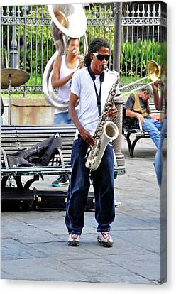 Canvas Print featuring the photograph New Orlean's Musician by Helen Haw