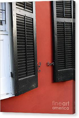 Canvas Print featuring the photograph New Orleans Shutters by Jeanne  Woods