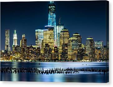 New Wtc And Remains Of Old Pier Canvas Print by Val Black Russian Tourchin