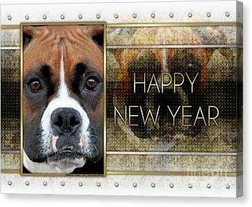 New Year - Golden Elegance Boxer Canvas Print by Renae Laughner