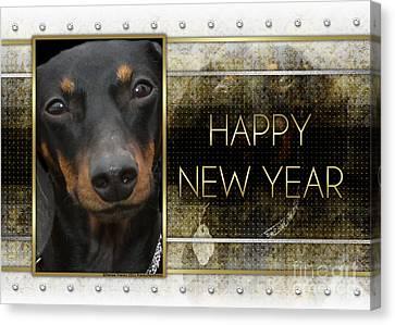 New Year - Golden Elegance Dachshund Canvas Print by Renae Laughner