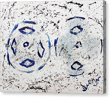 Canvas Print featuring the painting New Year Rolls Around With Abstracted Splatters In Blue Silver White Representing Snow Excitement by M Zimmerman