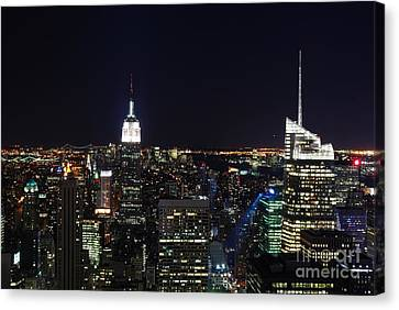 New York At Night Canvas Print by Alan Clifford