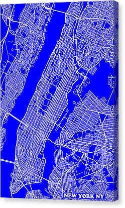 New York City Map Streets Art Print   Canvas Print by Keith Webber Jr