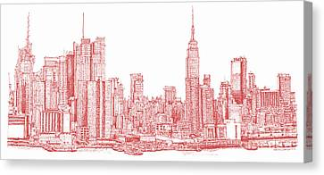Building Canvas Print - New York City Red Ink by Building  Art