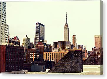 Nyc Rooftop Canvas Print - New York City Rooftops And The Empire State Building by Vivienne Gucwa