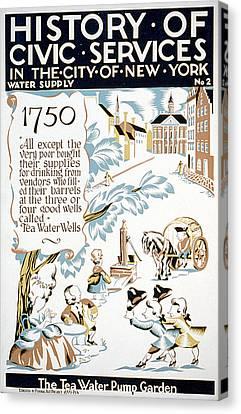 New York City. The Tea-water Pump Canvas Print by Everett