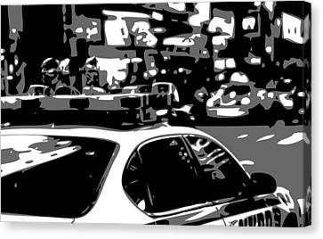 Ny Police Department Canvas Print - New York Cop Car Bw3 by Scott Kelley