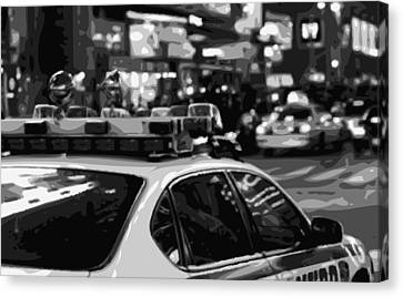 Ny Police Department Canvas Print - New York Cop Car Bw8 by Scott Kelley