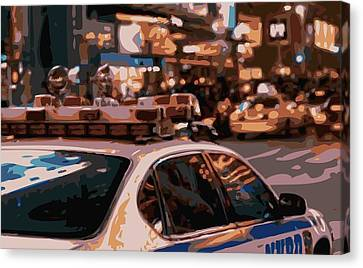 Ny Police Department Canvas Print - New York Cop Car Color 16 by Scott Kelley
