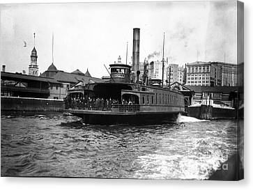 New York Harbour Steamship Whitehall Leaving Port A Summers Day In 1904 Canvas Print by Finn Trygvason Klingenberg