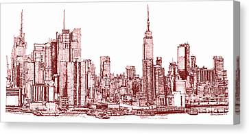 New York Maroon Ink Canvas Print by Building  Art