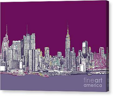 New York Nyc In Purple Canvas Print by Building  Art