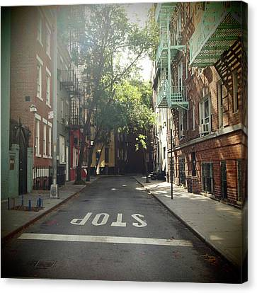Stop Sign Canvas Print - New York On Idealic Street by Lori Andrews