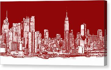 New York Rectangular Skyline Red Canvas Print