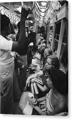 New York Subway. Passengers Commuting Canvas Print