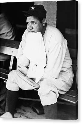 New York Yankees. Outfielder Babe Ruth Canvas Print by Everett