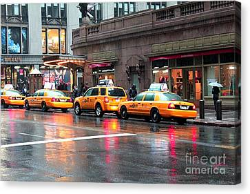 Canvas Print featuring the photograph New York's Famous Cabs by Laurinda Bowling