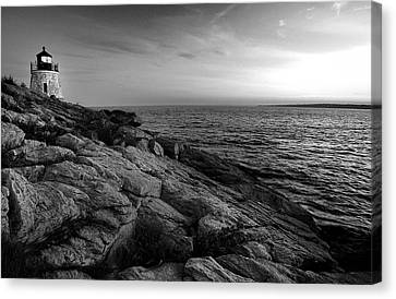 New England Lighthouse Canvas Print - Newport Rhode Island-castle Hill Black And White by Thomas Schoeller